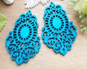 WP45 / # 9 Aqua Blue / Moroccan Style Filigree Wood Findings For Earring/Laser Cut Lace Charm / Pendant /  Colorful wooden pendant earrings