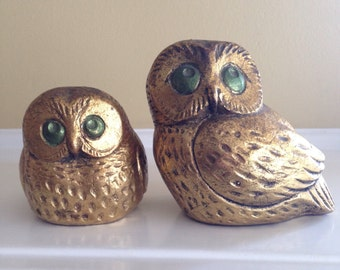 Vintage Jaru of California Owls (2) Gold Colored Figures