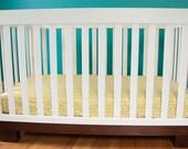 Organic Crib Sheet in Citrus Herringbone Baby Crib Sheet Toddler Bed Fitted Sheet Classic Nursery Modern Baby Bedding Modern Crib Sheet