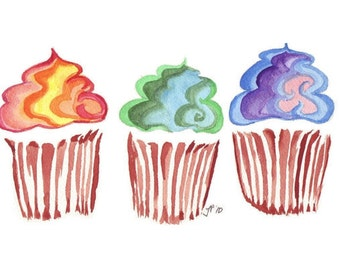 Cupcake Watercolor Painting - Rainbow Swirl Cupcake Art Print Wall Art, 11x14