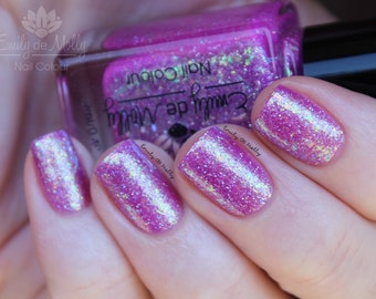 "Nail polish - ""Showdown""  purple jelly with iridescent flakies and shimmer"
