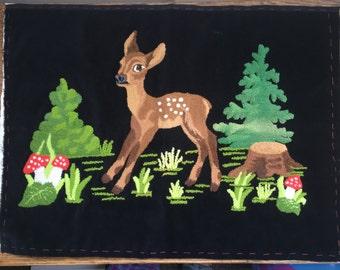 Vintage Deer Needle Point Bambie Velvet