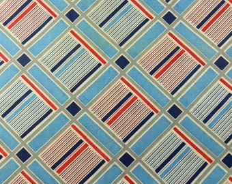"1 yard 1930s Vintage cotton fabric blue pink art deco grid pattern  35"" wide material sewing quilt dress wiggle"
