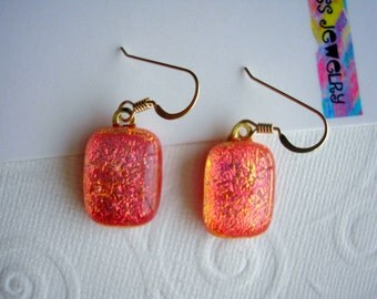 Dichroic Glass Jewelry Coral Orange Shimmer Earrings 14K Gold Earwires Color Shifting Rectanglar Cabochon Dangles Kiln Fired Dichronic Boho