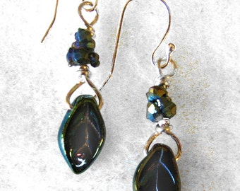 Iridescent blue leaf earrings