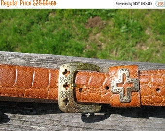 Beautiful Sienna Brown Crocodile Embossed Leather Belt with Hopi Cross Gold Hardware