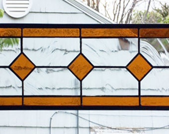 "Geometric Amber and Clear--6.5"" x 18.5""--Stained Glass Window Transom Panel"