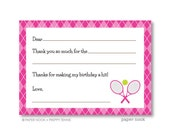 Preppy Tennis PRINTABLE Fill-in-the-Blank Thank You Note