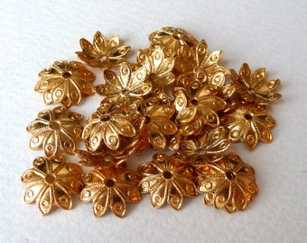 10 Gold Plated Flower Bead Caps  - 13x3mm - Slightly Pliable Bead Cups