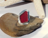 Sea Glass Ring Sterling Silver Size 8 1/4  RARE Sea Glass Red Beach Ring  Lake Erie Beach Glass