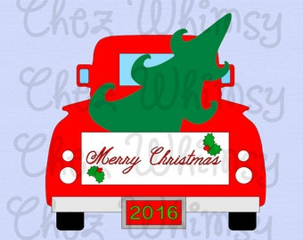 Truck SVG, Christmas Truck SVG, Truck with Tree Svg Design, Merry Christmas Truck, Truck carrying Christmas Tree