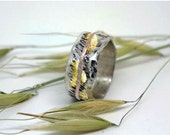 Custom listing for yortymonster Wide silver wedding band with 14k rose gold and KEumboo, OOAK ring