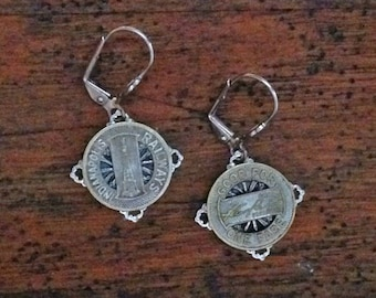 1900s Indianapolis, IN Transit Token Earrings