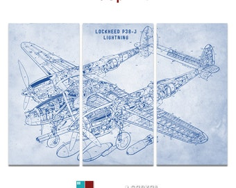 Lockheed P38 Bomber Plane Blueprint Patent Triptych Canvas Giclee - 36x24