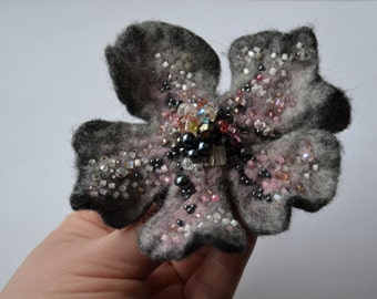 Felted Woolen Flower Brooch Pin Embroidered White Pink and Black Beads, Floral Corsage Pin, Felt Brooch,Felted Wool Flower,Handmade Art Pin