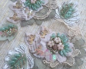 Olive/Peach Beaded lace Appliqué