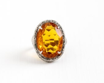 Sale - Vintage Art Deco Sterling Silver Simulated Citrine Ring - Antique 1920s Size 5 Filigree Orange Yellow Glass Stone Statement Jewelry