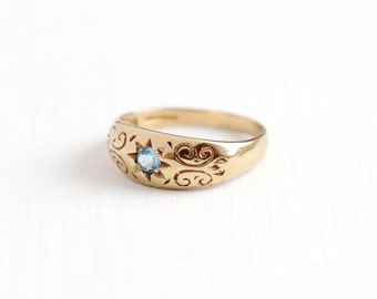 Sale - Vintage 9k 375 Yellow Gold Blue Topaz Ring - Size 7 Blue Gem English Birmingham 1993 Swirl & Star Design Fine Gypsy Set Jewelry