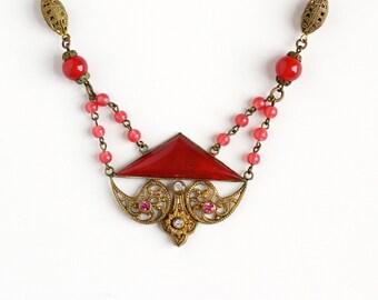 Sale - Vintage Art Deco Czech Pink Glass & Rhinestone Festoon Necklace - 1930s Brass Filigree Glass Bead Czechoslovakia Costume Jewelry