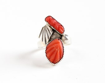 Sale - Vintage Sterling Silver Native American Coral Ring - Retro Size 5 1/2 Southwestern Leaf Pink Gem Statement Jewelry Signed S. Poblano
