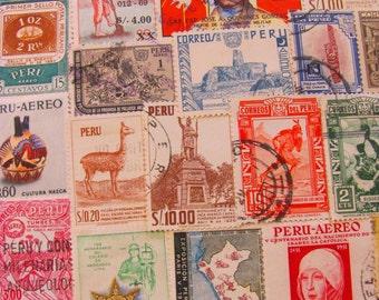 Incan Empire 50 Vintage Peruvian Postage Stamps Republic of Peru South America Andes Lima Latin Love Machu Picchu Inca Worldwide Philately