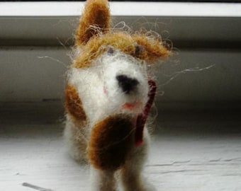 Spotted Needle Felted Posable Dog