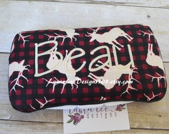Moose Rustic Plaid in Red and Black, Travel Wipe Case, Personalized Case, Baby Wipe Case, Baby Shower Gift, Diaper Wipe Case, Wipe Clutch