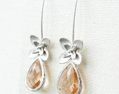 14OFFSALE Earrings, Silver Earrings, Long Earrings, Flower Earrings, Champagne Earrings, Rhodium Earrings, Teardrop Earrings, No. ES135