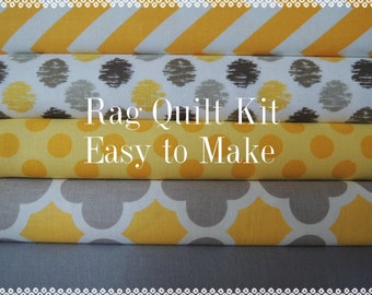 Yellow and Grey Rag Quilt Kit, Easy to Make, Personalized, Bin E, Optional Sewing Available