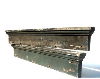 2 Vintage Architectural Salvage Door or Window Tops / Very Distressed Worn Weathered / Likely Old Lead Paint / Wall Decor / Shelf / Art