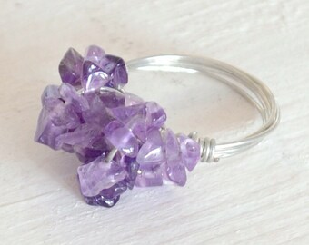 Amethyst ring with copper wire - wire wrapped gemstone ring - semi precious jewellery