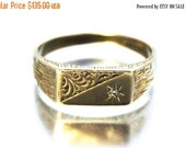 Summer Sale Vintage Unisex Diamond Signet Ring Floral Yellow Gold 9ct 9k | FREE POSTAGE | Size S.5 / 9.5
