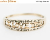 XMAS SALE RESERVED - Sweet Ladies Girls Diamond Ring 'I Love you' Yellow Gold 9ct 9k 9kt 375 | Free Shipping | Size N.5 / 7