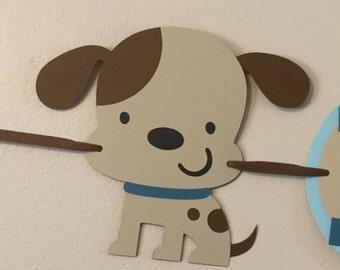 Blue Puppy dog Happy Birthday Banner Ready To Ship puppy dog 1st birthday party decorations