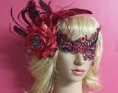 Masquerade Mask,Black Red Crystal Glitter Mask,Red Flower Women's Fascinator,Red Black Women's Headpiece