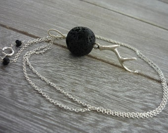 Stag horn necklace sterling silver. aromatherapy necklace.