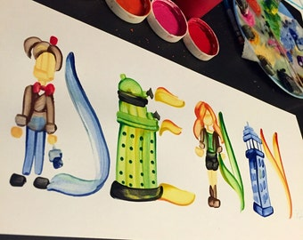 Doctor Who, Dr. Who, Tardis Name Painting - Custom, Made to Order