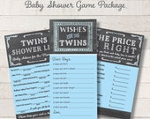 Chalkboard Twin Boys Game Package Set Blue Printable Baby Shower Games Wishes for Baby Game Price is Right Baby Mad Libs - INSTANT DOWNLOAD