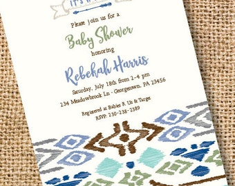 Tribal Baby Boy Invitation Arrows Printable Invitation Bridal Shower Invite Tribal First 1st Birthday Woodland Camping Indie Boho Hipster
