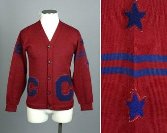 vintage 1950s cardigan • mens LETTERMAN sweater