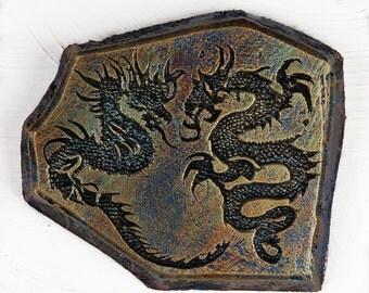 Dragon Art Stone Wall Plaque, Asian Dragon, Chinese Dragon Sculpture, Two Dragons, Flying Dragons Art Wall Decor