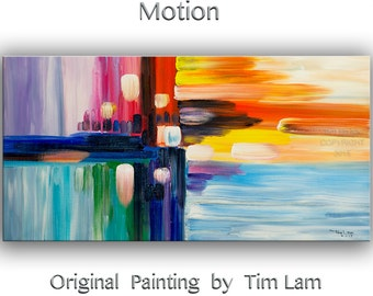"Huge original Brush art Abstract Painting Modern Impasto Texture canvas Abstract Road by Tim Lam 48"" x 24"""