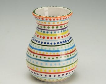 Small Ceramic Vase Hand Painted Stripes and Dots