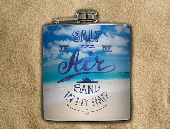 Beach Whiskey Flask Salty Air White Sandy Beach Tropical Vacation Traveler Honeymoon Girl Gift Stainless Steel 6 oz Liquor Hip Flask LC-1600