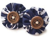 Navy and White Yoyo Hair Ties/Elastic with Wooden Buttons