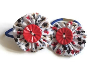 Red and Blue Floral Fabric Yoyo Hair Ties/Elastics