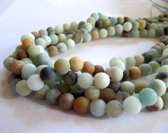 6mm Frosted Amazonite Beads in Matte Pale Green, Blue, Tan and Cream Shades, Approx 61 Pieces, 1 Strand 15 Inches, Round Gemstones