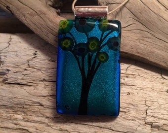 Dichroic glass jewelry, handmade dichroic glass, fused glass, handmade fused glass pendant, Dichroic glass pendant with/ silver chain