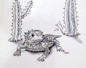 "Original Horned Lizard ""Horny Toad"" Ink Drawing - 5x7 inches hand drawn ink illustration"