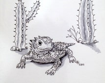 """Original Horned Lizard """"Horny Toad"""" Ink Drawing - 5x7 inches hand drawn ink illustration"""